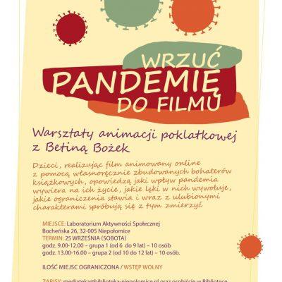 """""""Wrzuć pandemię do filmu"""" – warsztaty animacji poklatkowej"""